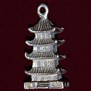 Sterling Chinese Pagoda Vintage 1960's Solid Silver
