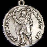 Vintage Sterling Saint Christopher Medal Solid Silver Pendant Charm Medallion
