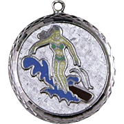 Vintage 60's Surfer Girl Charm With Colorful Little Surfer on A Wave