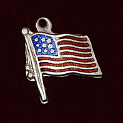 Sterling American Flag Charm With Red and Blue Enamel Vintage 1960's Solid Silver
