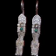 Vintage Sterling Earrings Malachite Cabochons