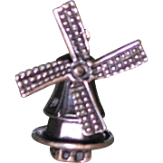 Fabulous Dutch Sterling Windmill Charm With Rotating Blades Vintage Solid Silver
