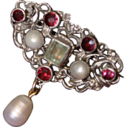 800 Silver Pin With Faceted Glass Gems Beautiful