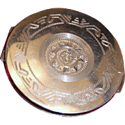 Sterling Compact From Mexico With Engraved Design