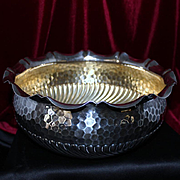 Silver Bowl With Honey Comb Hand Hammered Design Solid 800 Silver From Germany