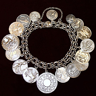 Sterling 12 Signs of Zodiac Theme Charm Bracelet With 17 Exceptional Charms
