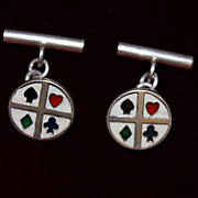 Sterling and Enamel Cuff links Playing Card Pip Theme Perfect Gift for Poker fan