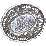 800 Silver Candy Dish From Germany With Sweet Pastoral Scene