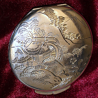 Japanese Sterling Compact Hand Engraved Scene of House With Water Wheel and Mount Fuji Vintage 1950's Solid Silver