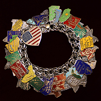 """""""America"""" 50 State Sterling Charm Bracelet With 51 Vintage Sterling charms 28 Enamels and Beautiful Heart"""