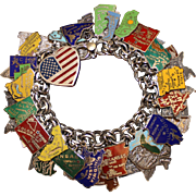 """America"" 50 State Sterling Charm Bracelet With 51 Vintage Sterling charms 28 Enamels and Beautiful Heart"