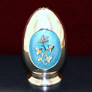 Sterling Aqua Blue Enamel Salt Shaker By MEKA Vintage 1960s Solid Silver Denmark