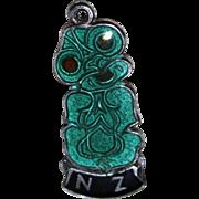 Rare & Authentic Sterling Silver New Zealand Maori Hei Tiki Charm Green Enamel