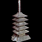 Figural Japanese Sterling Pagoda Salt Shaker Vintage 1950's Solid Silver