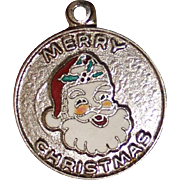 1967 Sterling Santa Charm With Colorful Enamel Vintage Solid Silver Disc