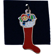 Sterling Christmas Stocking Filled With Colorful Enamel Rag Doll and Toys Vintage Solid Silver