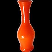 1960's Japanese Vase Vibrant Orange Glass Graceful Silhouette