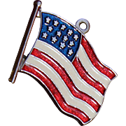 Sterling Silver USA Flag Charm With Red White Blue Enamel