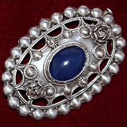 800 Silver and Blue Chalcedony Pin From Italy Pearl and Rose Peruzzi Style Motif