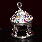 Sterling Carousel Charm With Colorful Rhinestones