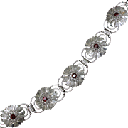 Sterling and Rhinestone Bracelet Solid Silver With Glass Garnets and Marcasites