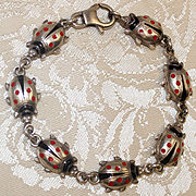 Vintage Sterling Ladybug Bracelet With Exceptional Little Ladybugs