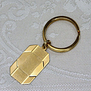 Vintage New Stock Sterling Key Ring With 14K Gold Plating