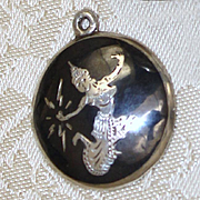 Mekkala Lightning Goddess Sterling Pendant or Charm From Siam Vintage Nielloware Black Enamel