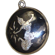 Mekkala Lightning Goddess Sterling Pendant or Charm From Siam Vintage Nielloware Black Enamel