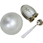 Danish Sterling and Eggshell Colored Enamel Set With Pepper Shaker Salt Cellar and Matching Spoon Vintage Solid Silver Set