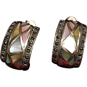 Sterling Earrings With Marcasite and Dyed Mother of Pearl