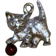 Sterling Kitten Charm With Glass Bead Ball Vintage Solid Silver Cat Pendant
