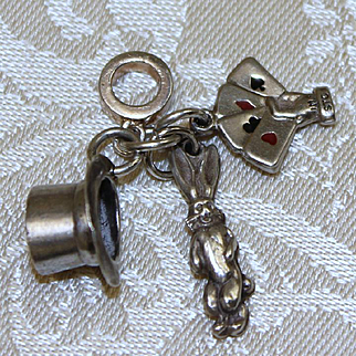 Magician's Hat With Puffy Bunny Rabbit Charm and Hand With Playing Cards *3 Vintage Sterling Charms in 1 Pendant*