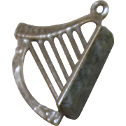 Irish Sterling Connemara Marble Harp Charm or Pendant Vintage Solid Silver