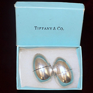 Rare 1958 English Tiffany and Co. Sterling Eggs Salt Pepper Shakers Vintage Solid Silver Set Made in London
