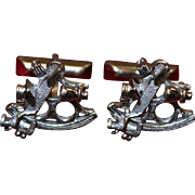 Sterling Sextant Cufflinks With Moving Parts Nautical Theme 1950's Vintage Solid Silver in MINT Condition