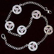 Sterling Anklet Solid Silver Anklet With Ruby Colored Faced Glass Gems