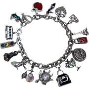 16 Fabulous Charms! Solid Silver Sparkly Colorful Jingly Charm Bracelet