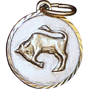 Sterling Taurus Charm Vintage Solid Silver Zodiac Sign April 19 to May 20th Birthday Girl
