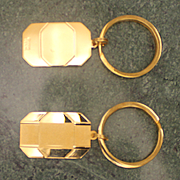 His and Hers Pair Vintage New Stock Sterling Key Rings With 14K Gold Plating