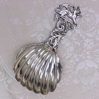 Victorian Shiebler Sterling Serving Spoon Solid Silver Aesthetic Era With Fluted Bowl and Figural Winged Lion Handle