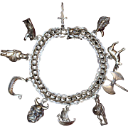 Sterling Viking Charm Bracelet 10 Exceptional Viking Theme Charms Vintage Solid Silver One-of-a-Kind Wearable Art