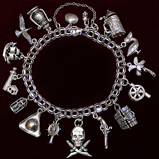 Sterling Pirate Lass Charm Bracelet 16 Vintage Solid Silver Charms *A Sterling Treasure Worthy of Anne Bonny!*