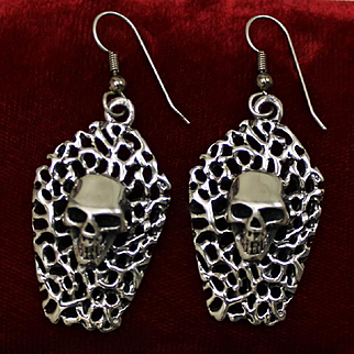 Spooky Sterling Halloween Skull Earrings Two Creepy Dimensional Skulls Solid Silver