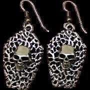 Spooky Sterling Halloween Skull Earrings Two Creepy Dimensional Skulls Solid Silver