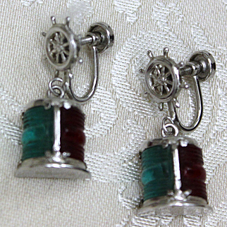 Sterling Nautical Port Starboard Lights Earrings Mariner's Ship Lanterns Vintage 1950's Screwbacks