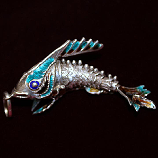 Big Sterling Italian Articulated Fish Fob or Pendant With Enameled Tail and Fins