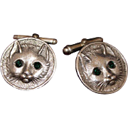 Sterling Cat Cuff Links Vintage Kitty Theme Cuff Links in Solid Silver