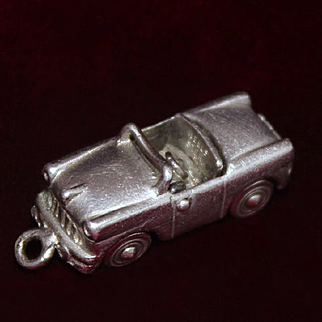 1950's PRISTINE Sterling Convertible  Car By Wells With Top that Goes Up and Down and Rolling Wheels Vintage Solid Silver