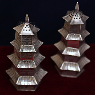 Sterling Pagoda Towers Salt Pepper Shakers Figural Vintage Japanese Solid Silver Pepper Pots Circa 1950